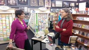 Discussing publishing and fiction with author Jane Kirkpatrick at Corvallis book signing.