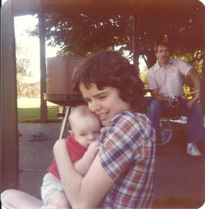 Kathy with son Joshua. My father in the background - 1979.