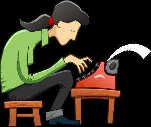 girl typewriter. free skeeze.pixabay