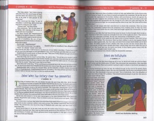 "Sample pages of the Illustrated Holy Bible for Kids depicting passages from 2 Samuel 9-10 and an image titled ""David is Kind to Jonathan's son, Mephibosheth"" and another titled ""David Sees Bathsheba Bathing."""